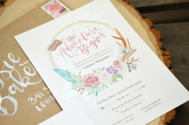The Adventure Begins Shabby Chic Baby Shower Invitation 3 Tribal Watercolor Wreath