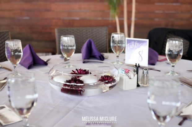 Sam Allen Creates Watercolor Wedding Reception Bali Hai Tablescape Floating Dahlia Centerpiece - Photo by Melissa McClure