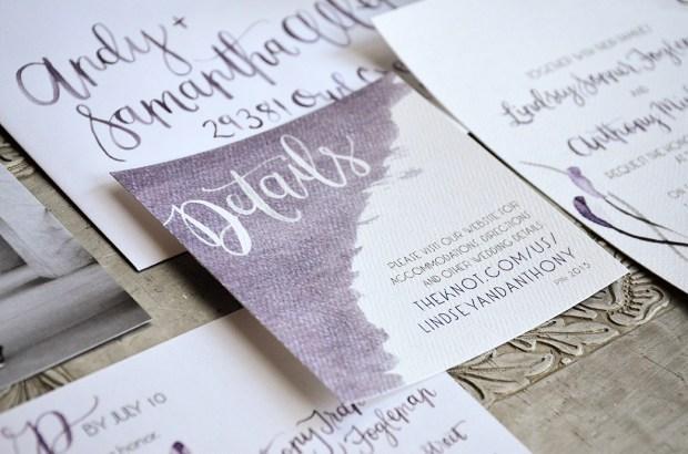 Sam Allen Creates Watercolor Weddng Invitation Details Card