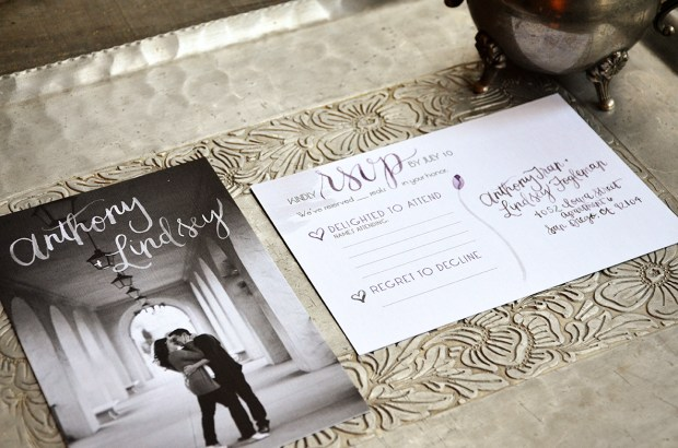 Sam Allen Creates Watercolor Weddng RSVP Card Postcard