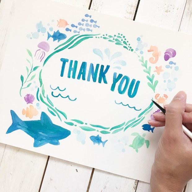 Sam Allen Creates - Isaiah's First Birthday Thank You Card - Under the Sea Birthday - Watercolor Painting