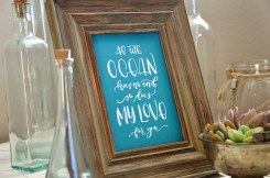 Sam Allen Creates - Isaiah's First Birthday - Under the Sea Birthday - As the Ocean has no end so does my love for you - ocean saying - handlettered watercolor art 2