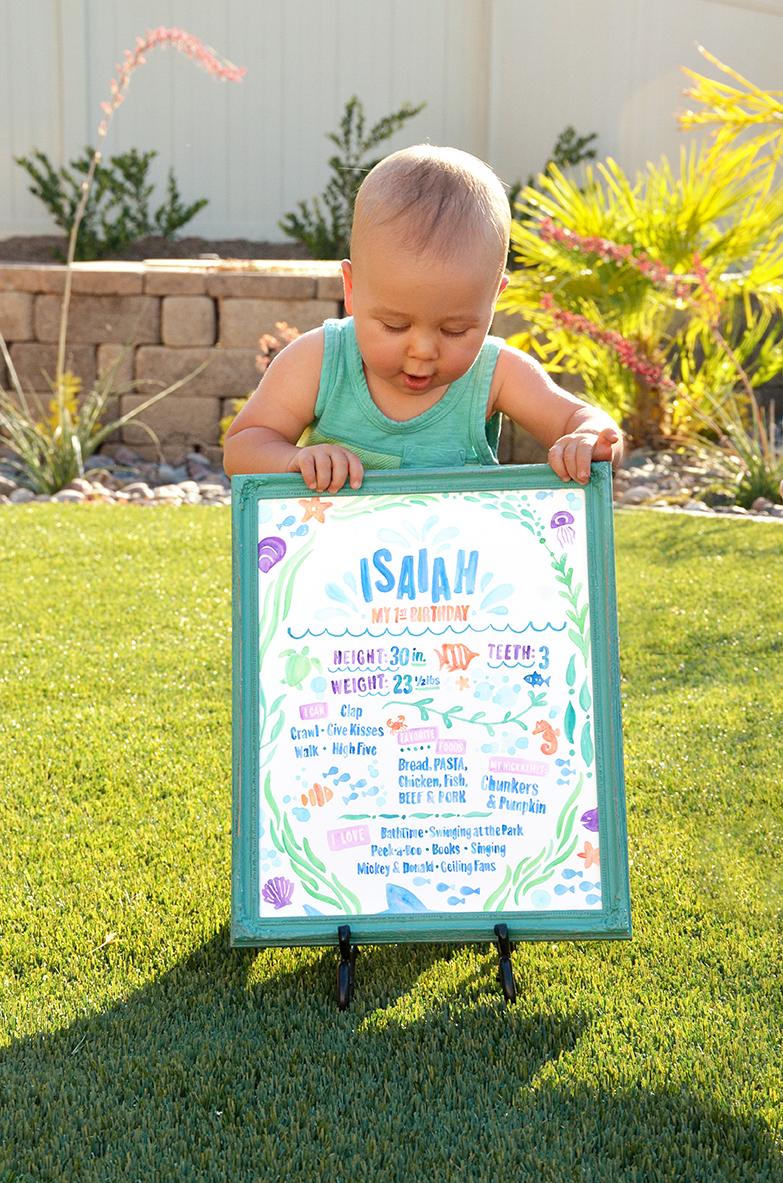 Sam Allen Creates - Isaiah's First Birthday - Under the Sea Birthday One Year Poster 4