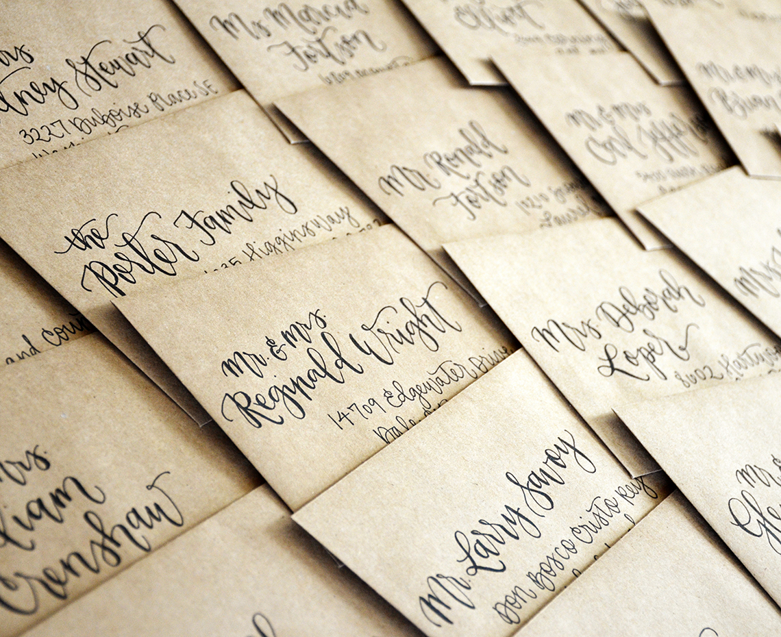 Sam Allen Creates – Envelope Adressing – Kraft with Black ink