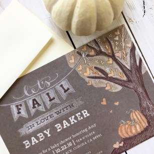 Sam Allen Creates Fall Baby Shower Invitation