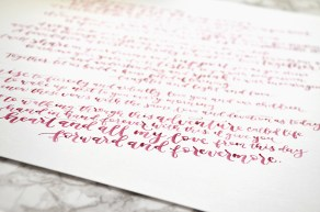 Sam Allen Creates Handwritten Watercolor Vows for Rachel - forward and forevermore