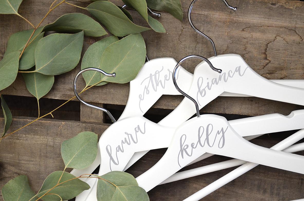 Sam Allen Creates personalized hangers for bridesmaids