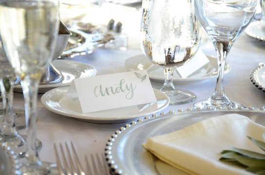 Sam Allen Creates Watercolor Wedding Placecard Brush Lettering