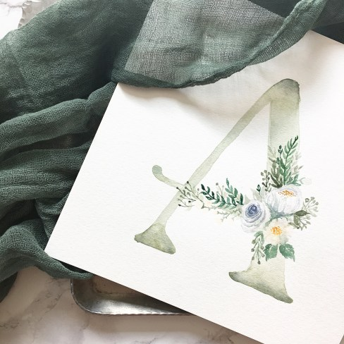 Sam Allen Creates Watercolor Floral Monogram A
