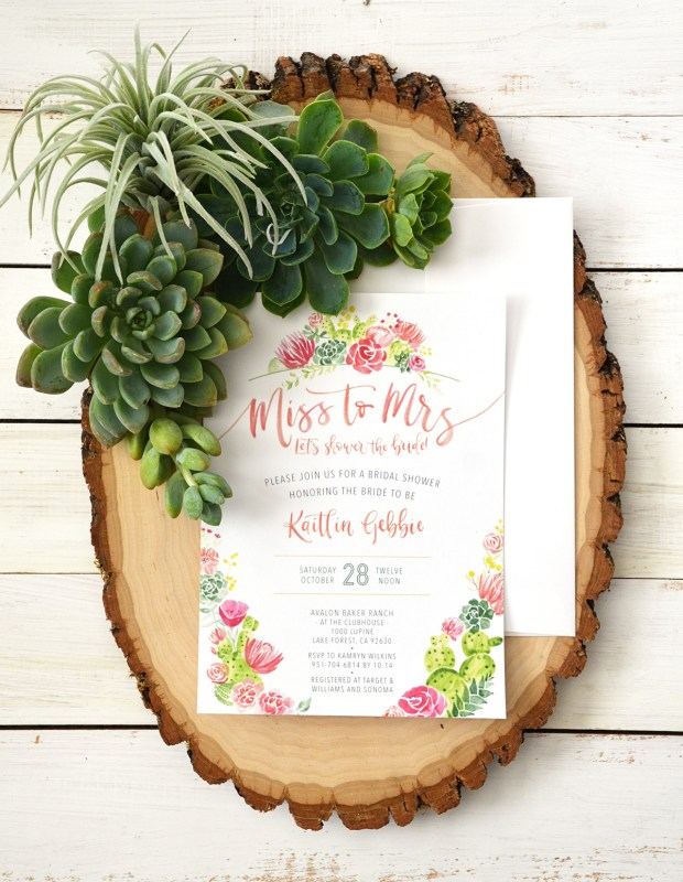 Sam Allen Creates Watercolor Succulent Cacti Bridal Shower Invitation