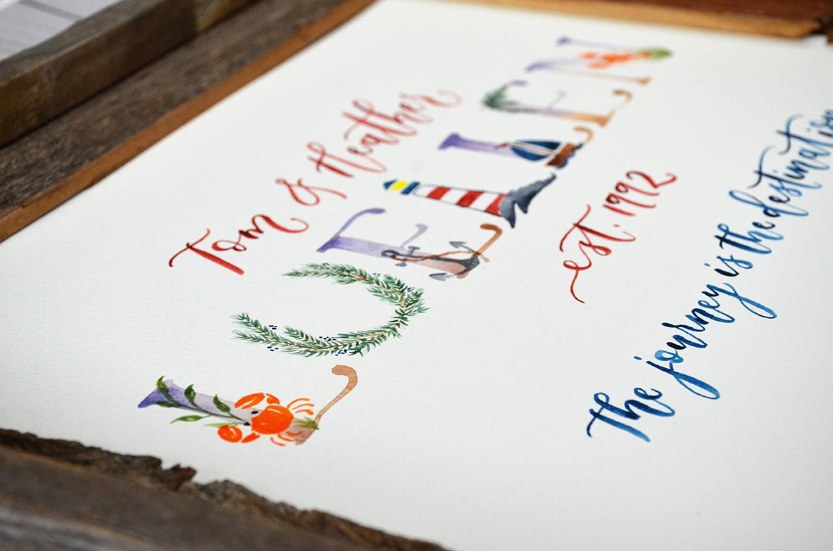 Sam Allen Creates Family Last Name Watercolor Painting – Maine Beach Theme detail