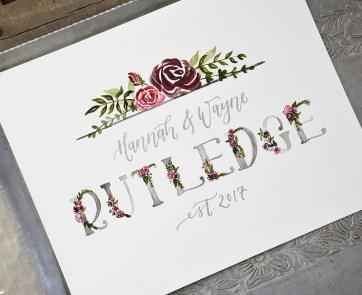 Sam Allen Creates Family Last Name Watercolor Painting - Rutledge