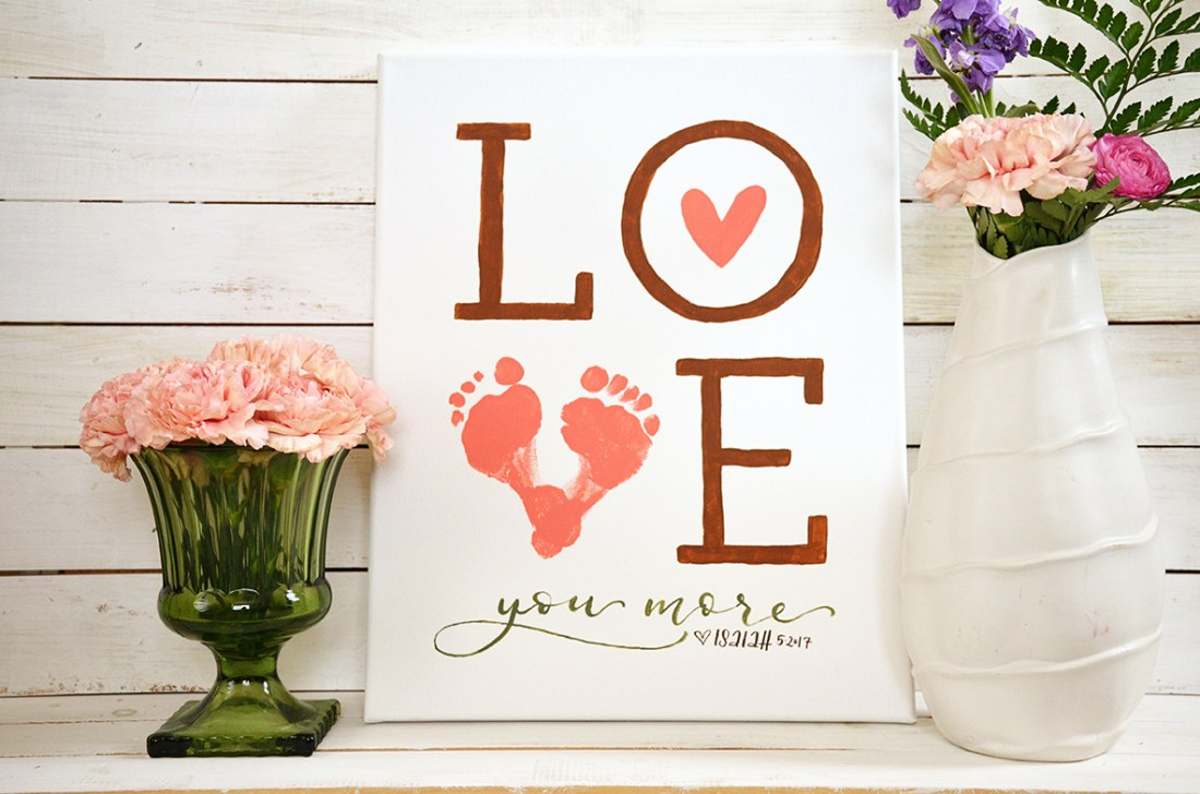 Sam Allen Creates Grandparent Gifts from Children Love Sign with Footprints