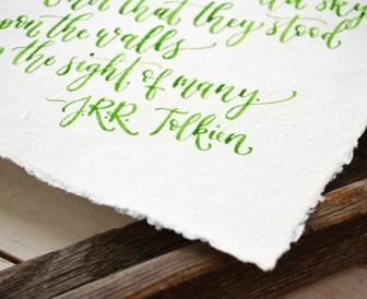 Sam Allen Creates Handwritten Tolkien Quote Watercolor Painting detail