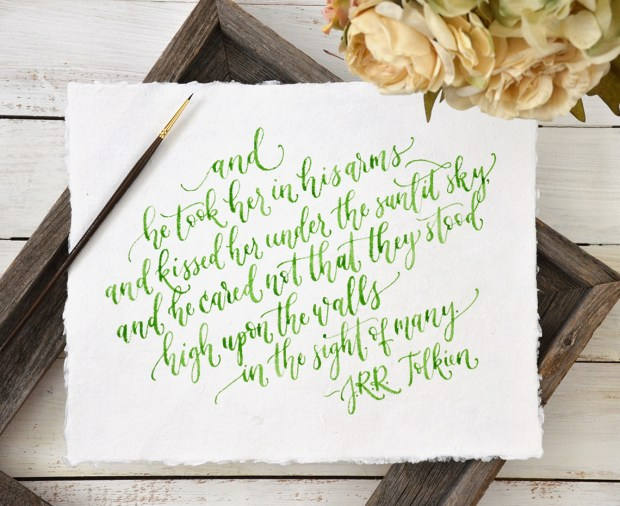 Sam Allen Creates Handwritten Tolkien Quote Watercolor Painting