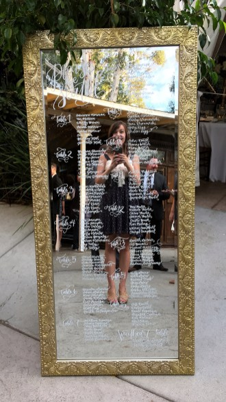 Sam Allen Creates Mirror Wedding Table Seating Chart Selfie