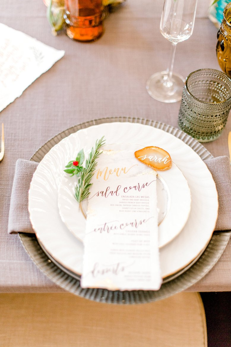 Sam Allen Creates Wedding Reception Menu on Handmade Paper with Agate Placecard - Image by Harper & Grace Photography