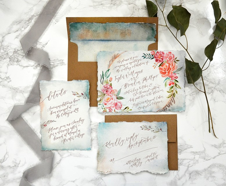 Sam Allen Creates - Boho Watercolor Flower Wreath Handmade Paper Wedding Invitation 1