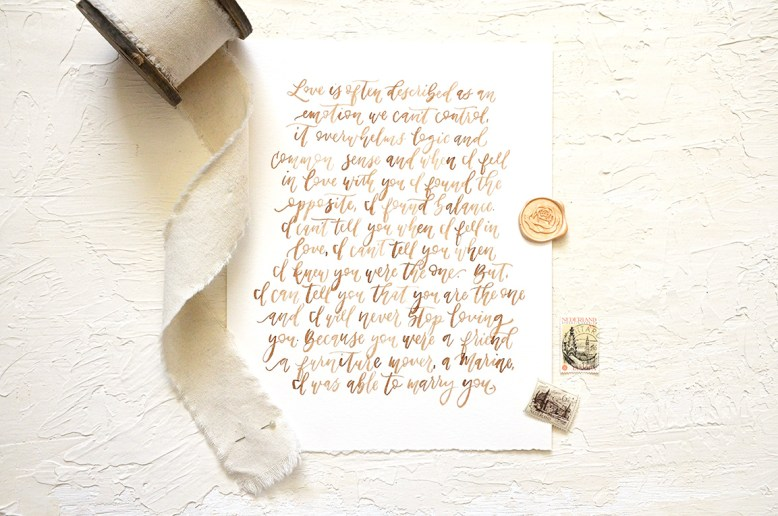 Sam Allen Creates - Watercolor Handpainted Wedding Vows in Walnut Ink
