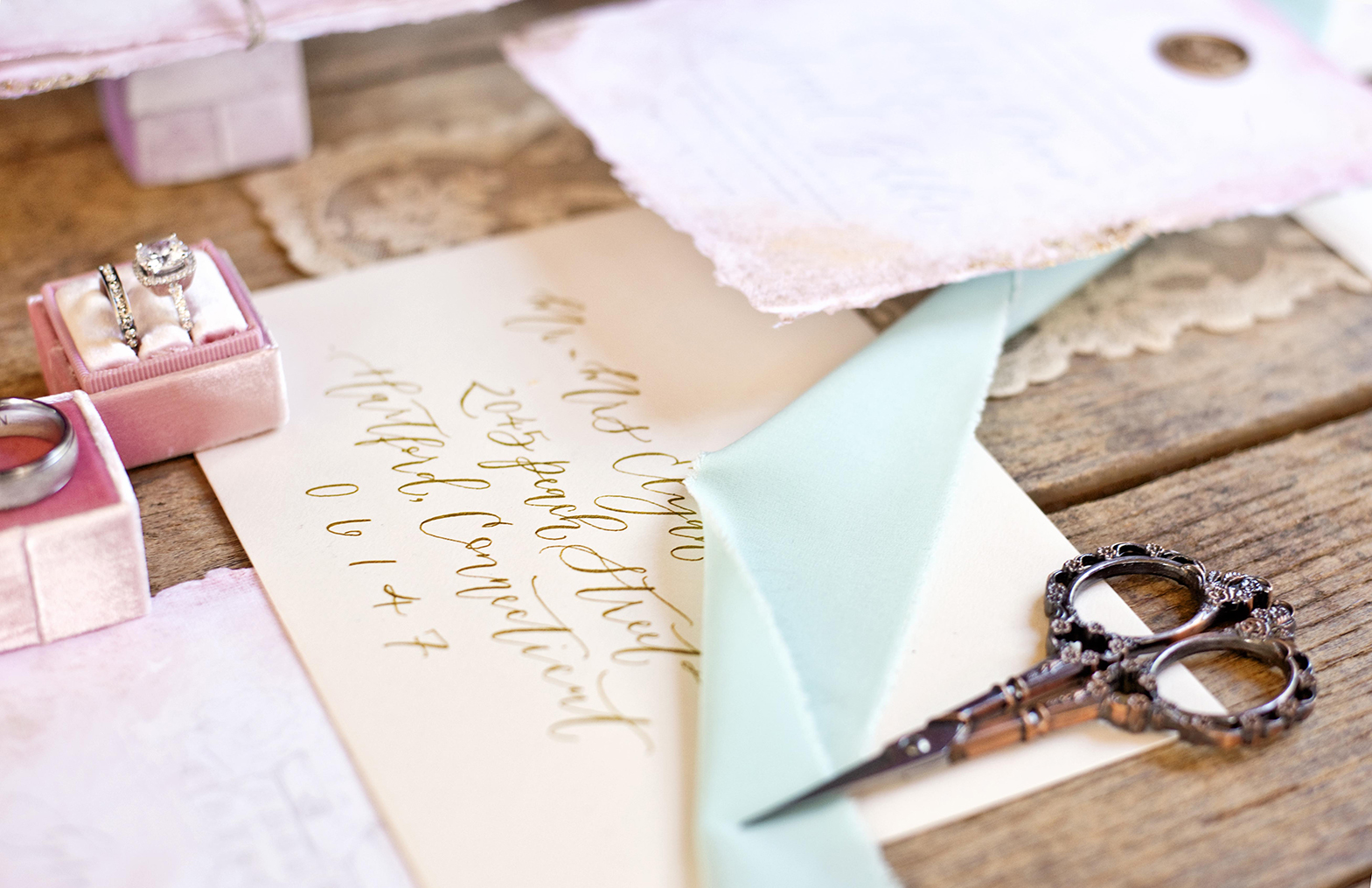 Sam Allen Creates Wedding Invitation Envelope Addressing, Photography and Styling by Abbe Foreman