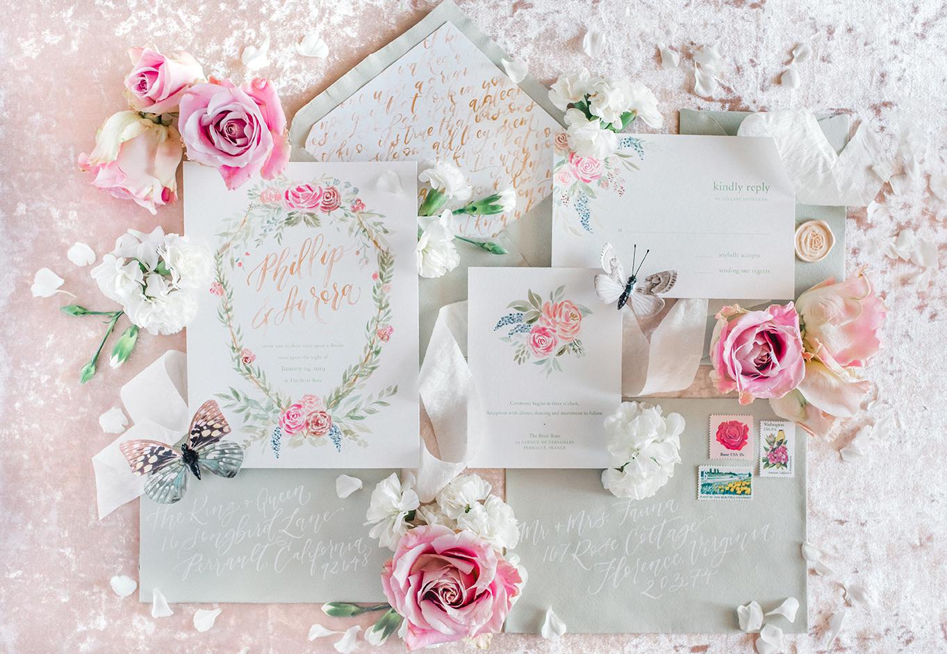 Sam Allen Creates – Disney Inspired Sleeping Beauty Wedding Invitation – Invitation Suite Flatlay