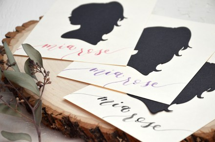 Sam Allen Creates - Handdrawn Papercut Silhouette with Watercolor Brush Calligraphy Name Detail