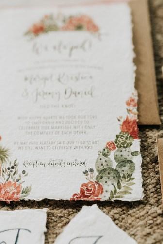 Sam Allen Creates - Watercolor Boho Wedding Invitation - Joshua Tree- cactus detail - photo by Molly McElenney