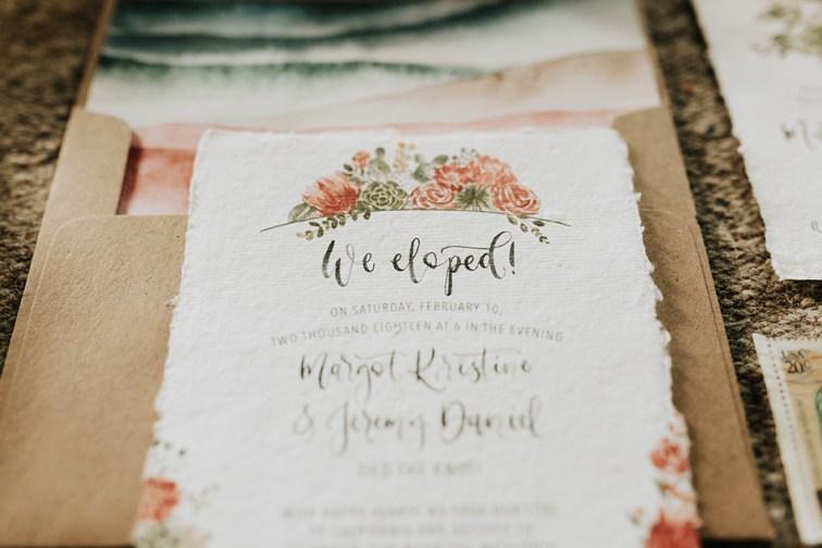 Sam Allen Creates - Watercolor Boho Wedding Invitation - Joshua Tree- Elopement Announcement - photo by Molly McElenney