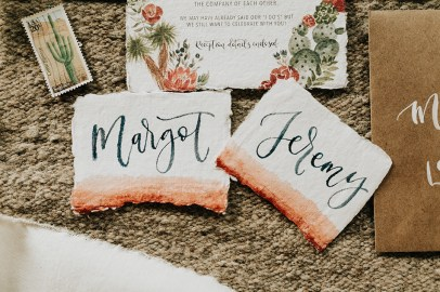 Sam Allen Creates - Watercolor Boho Wedding Invitation - Joshua Tree- placecards - photo by Molly McElenney