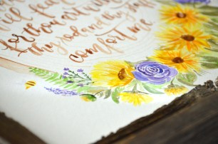 Sam Allen Creates - Psalm 23 Sunflower Watercolor Painting Detail2