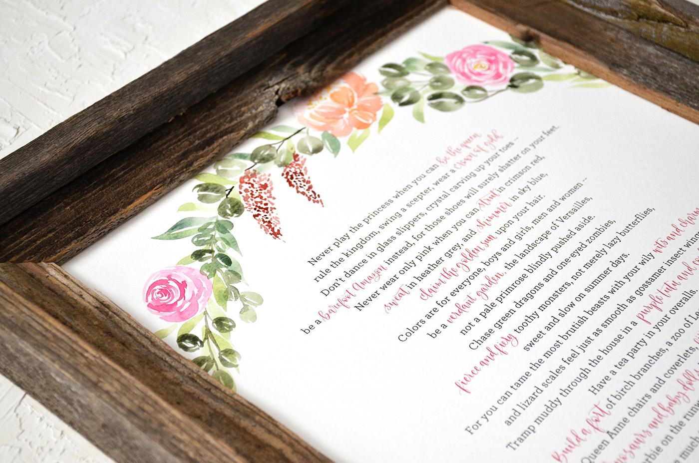 Sam Allen Creates – Custom Watercolor Wreath Painting with Song Lyrics – Birthday Gift Idea – detail1