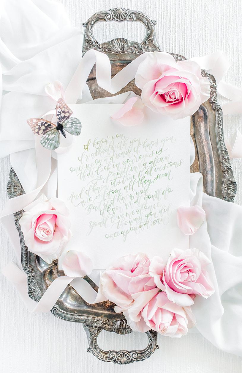 Sam Allen Creates – Disney Inspired Sleeping Beauty Wedding Invitation – Once Upon a Dream Song Lyrics Calligraphy Art