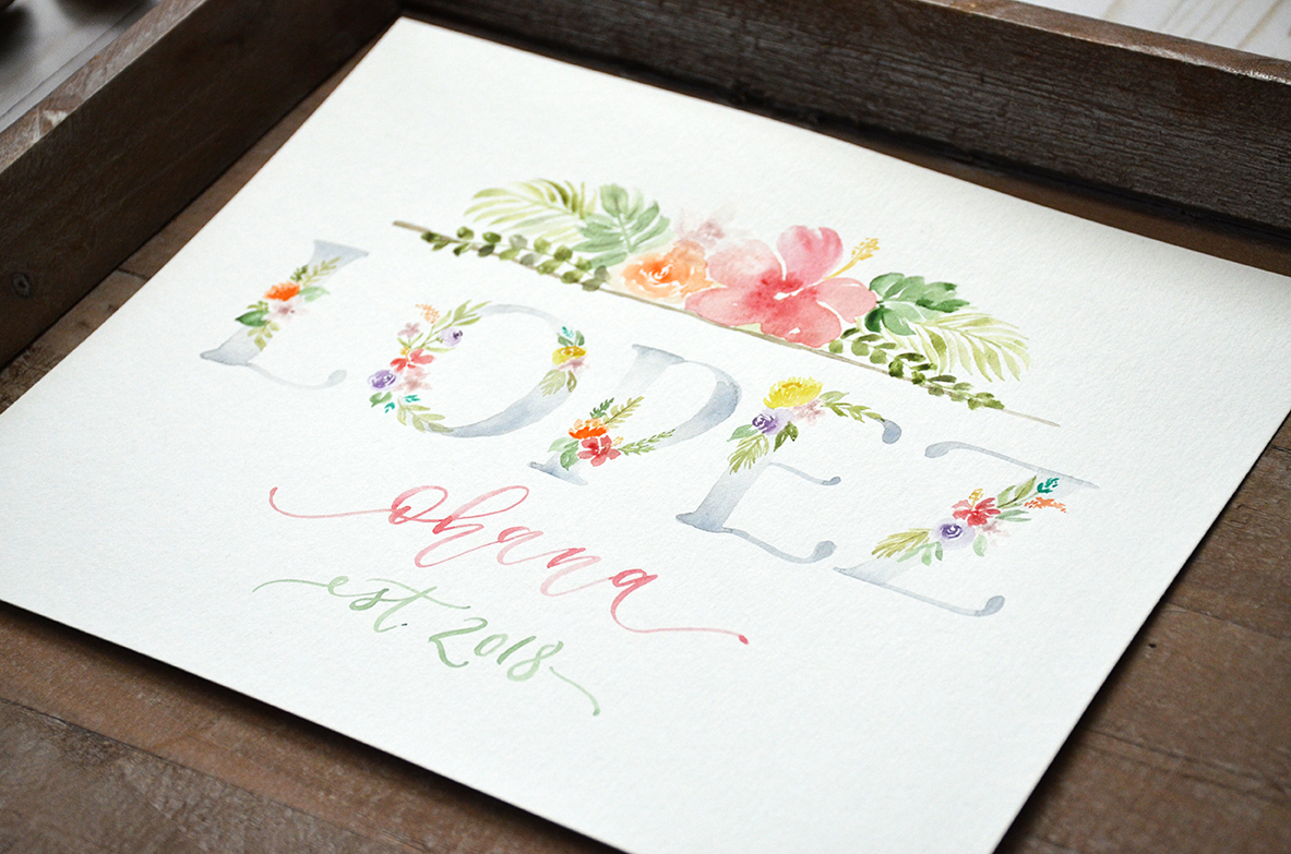 Sam Allen Creates – Tropical Watercolor Last Name Sign, Custom Painted Wall Decor