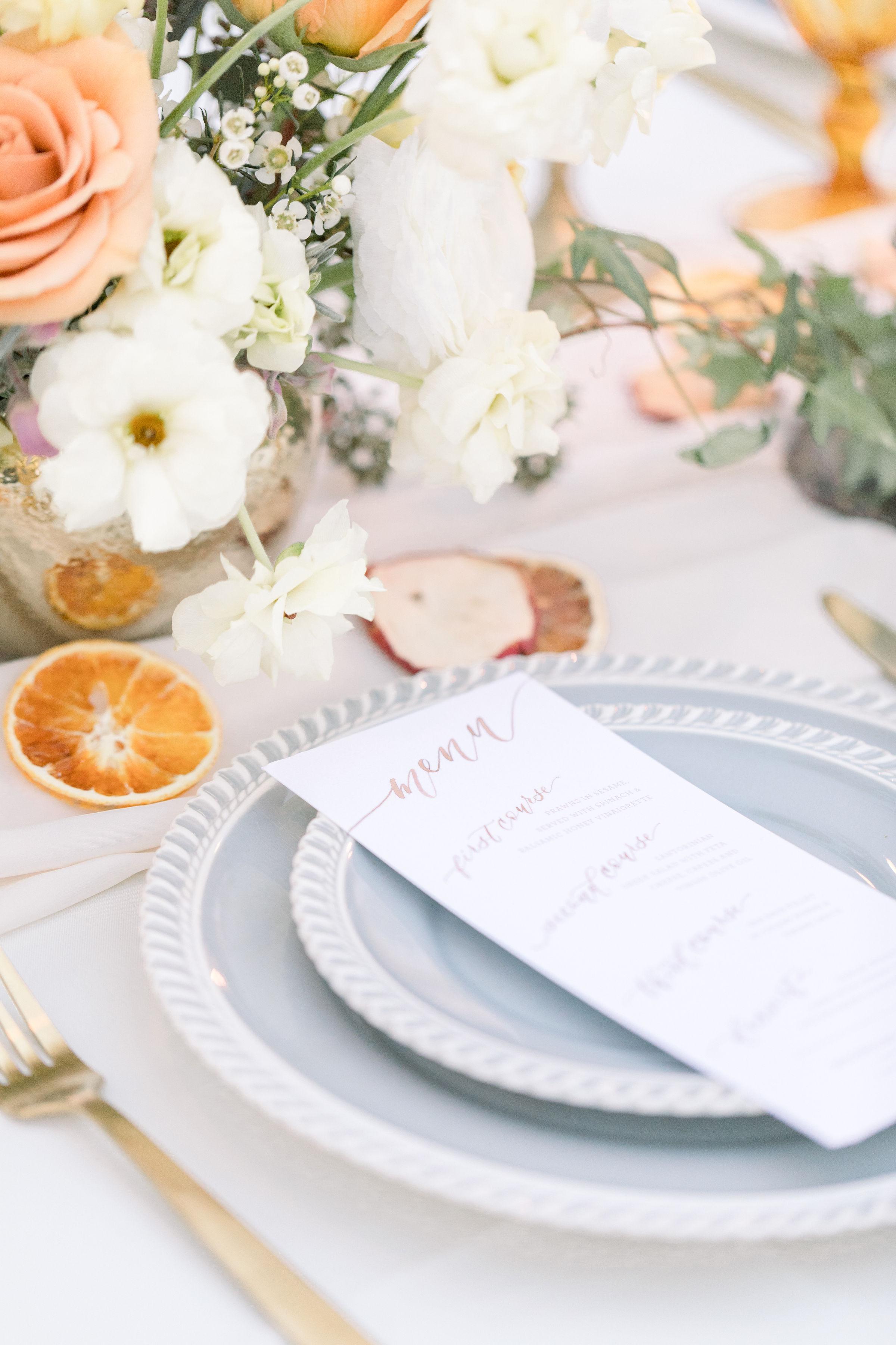 StephanieWeberPhotography-Brown Wedding Reception Tablescape – Sam Allen Creates Watercolor Menu
