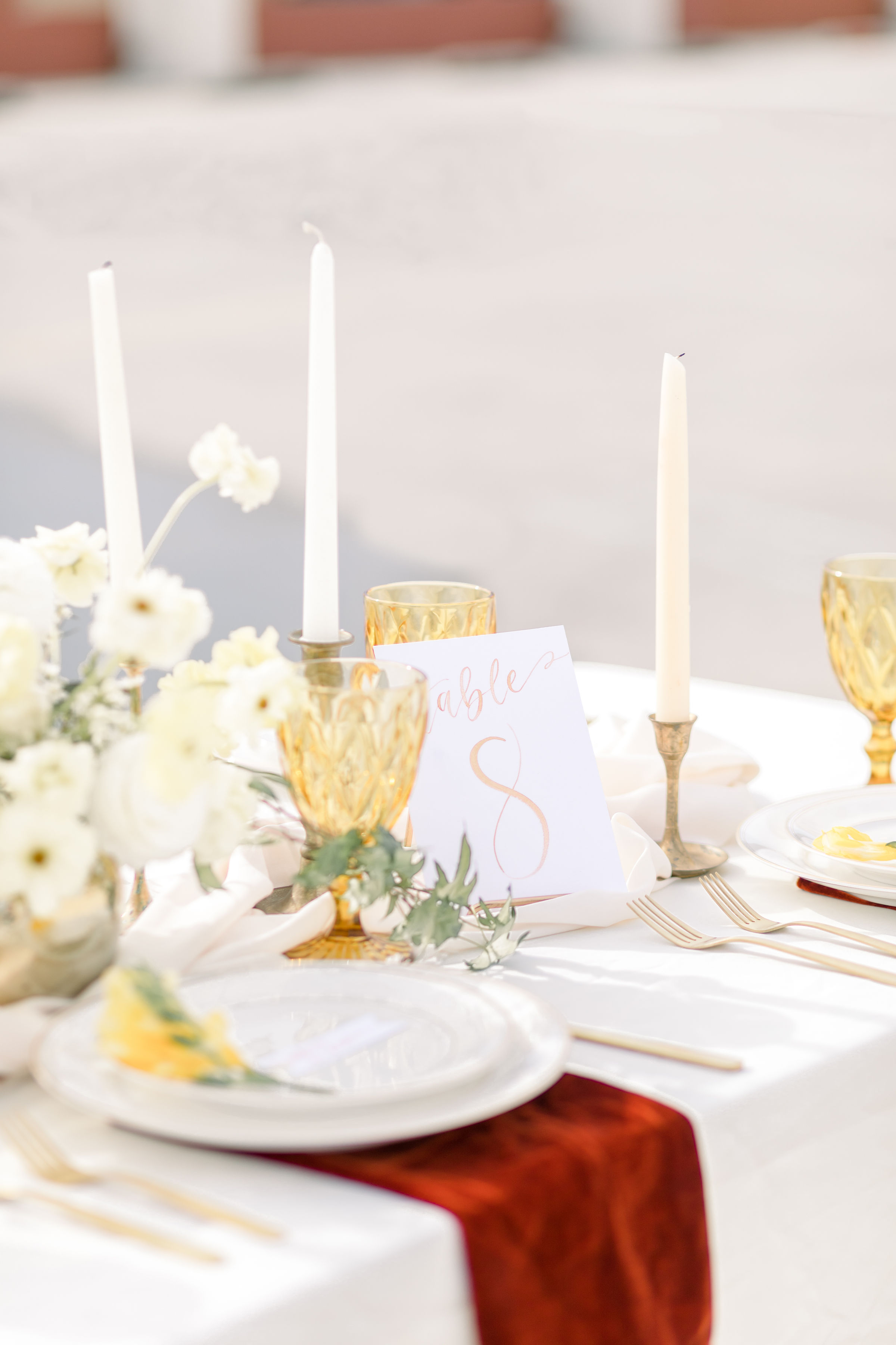 StephanieWeberPhotography-Gold Tablescape – Sam Allen Creates Watercolor Table Numbers