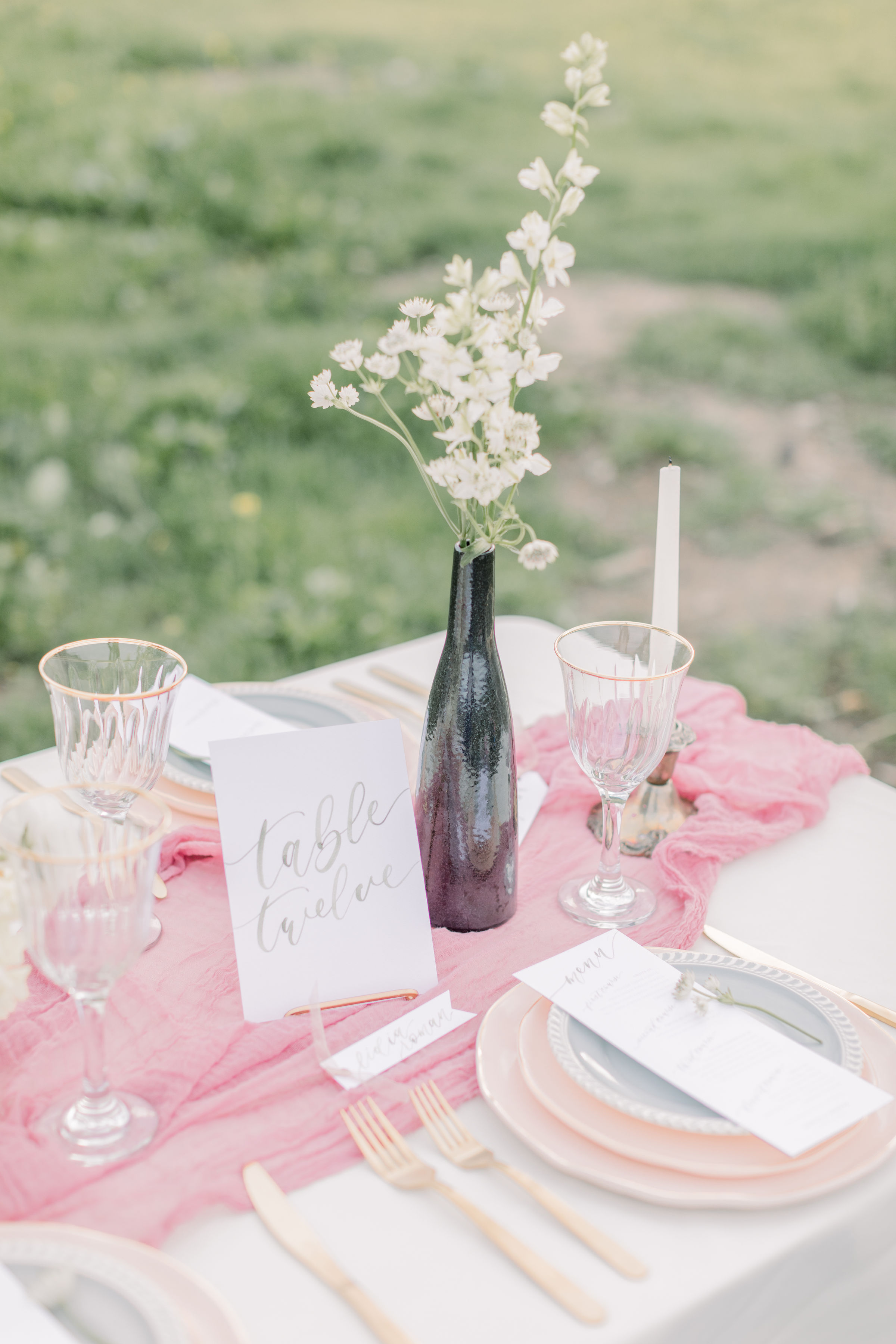 StephanieWeberPhotography-Green Wedding Reception Tablescape, Sam Allen Creates Table Number Cards