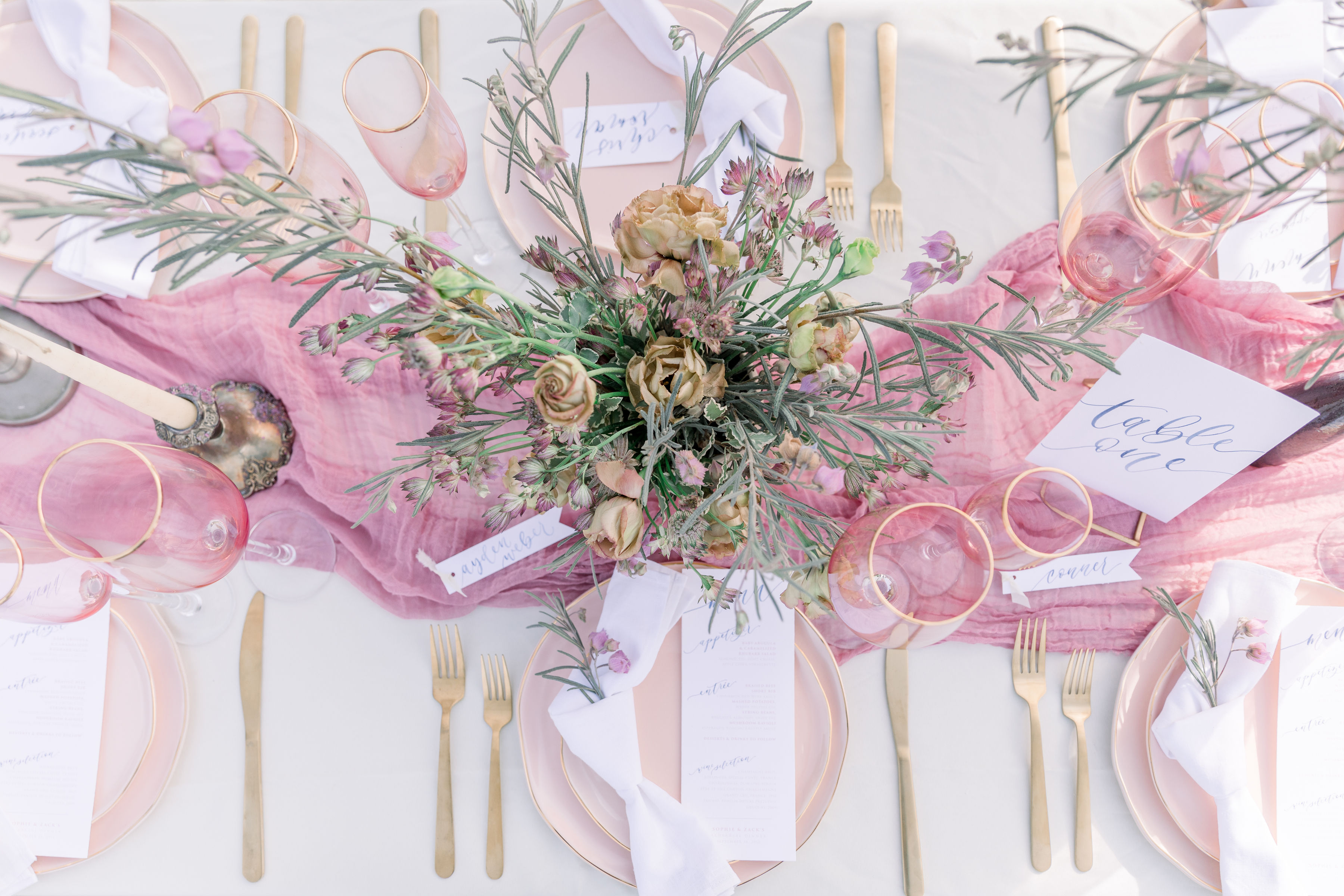 StephanieWeberPhotography-Navy and Pink Wedding Tablescape Overview