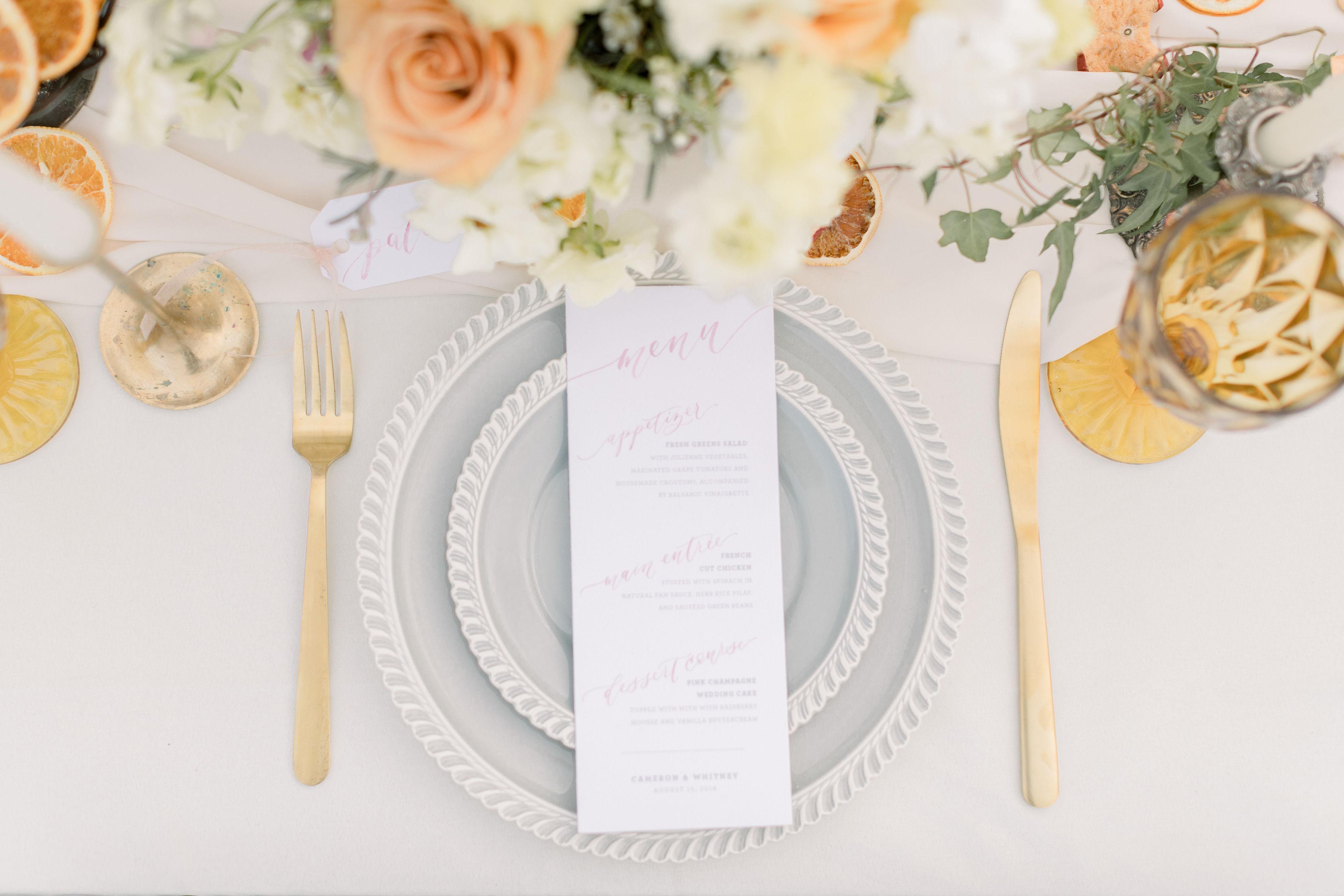 StephanieWeberPhotography-Pink Wedding Reception Tablescape – Sam Allen Creates Watercolor Menu