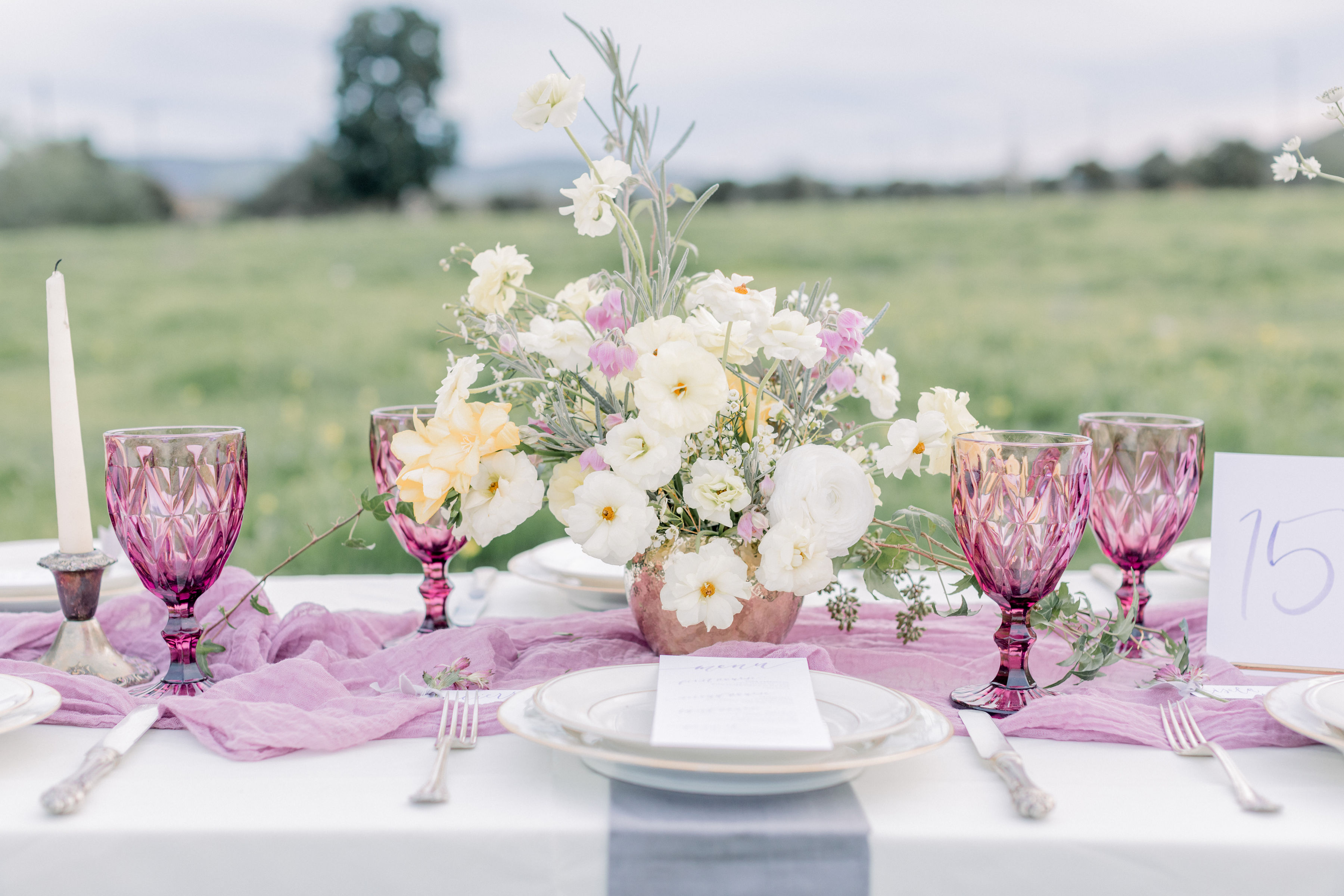 StephanieWeberPhotography-Purple Wedding tablescape – Bloom Theory centerpiece