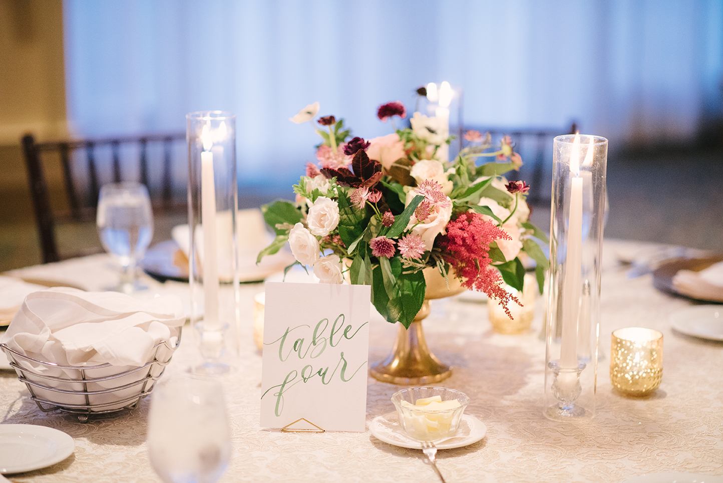 Watercolor Table Numbers by Sam Allen Creates, Photo by Eva Lin Photography