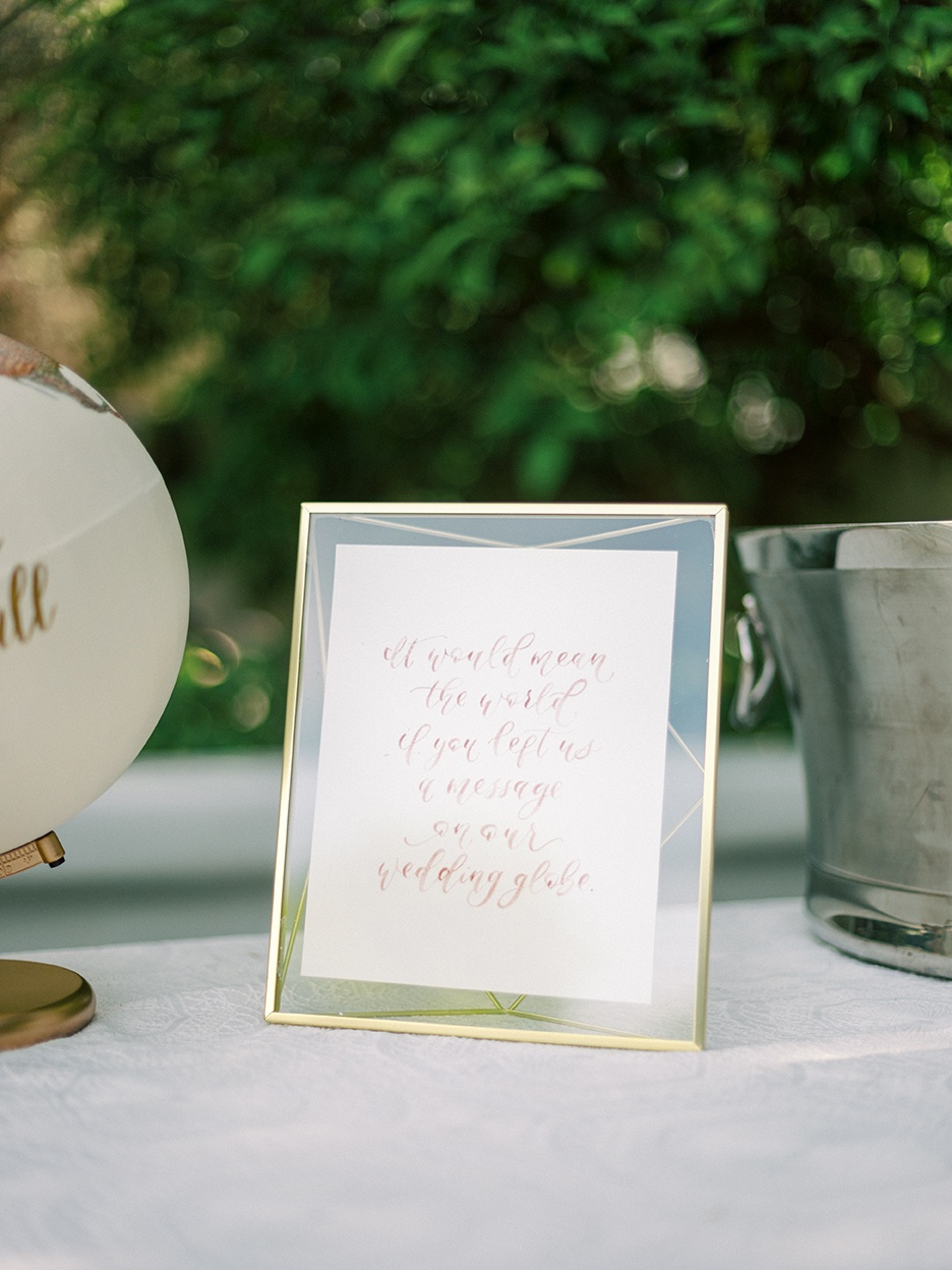 Courtney and John Travel Themed Wedding – Daniel Kim Photo 6 – Welcome Table with Guest Book Globe, Watercolor Sign by Sam Allen Creates