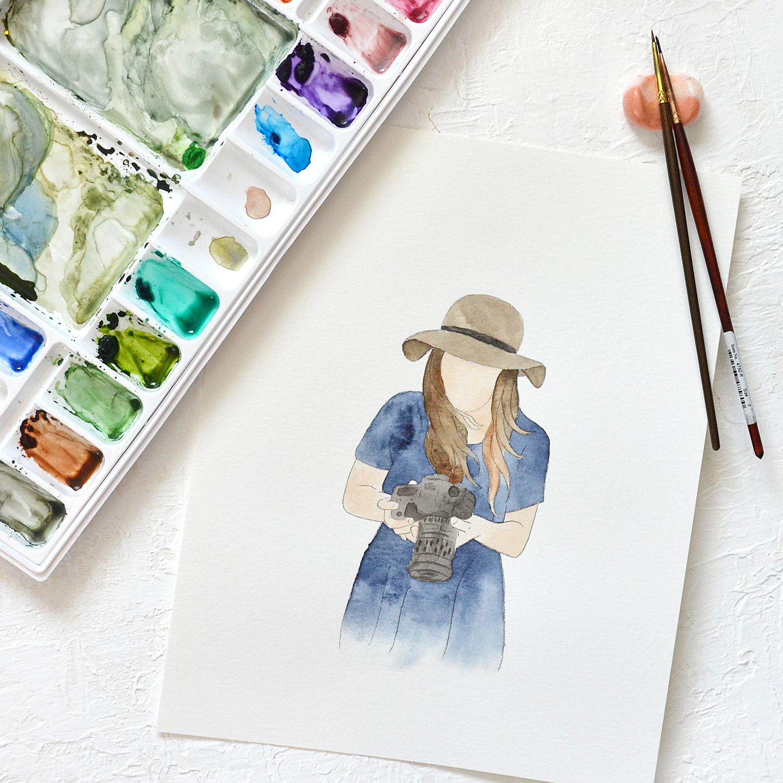 Sam Allen Creates – Watercolor Faceless Portrait of Photographer and Camera Branding Photo