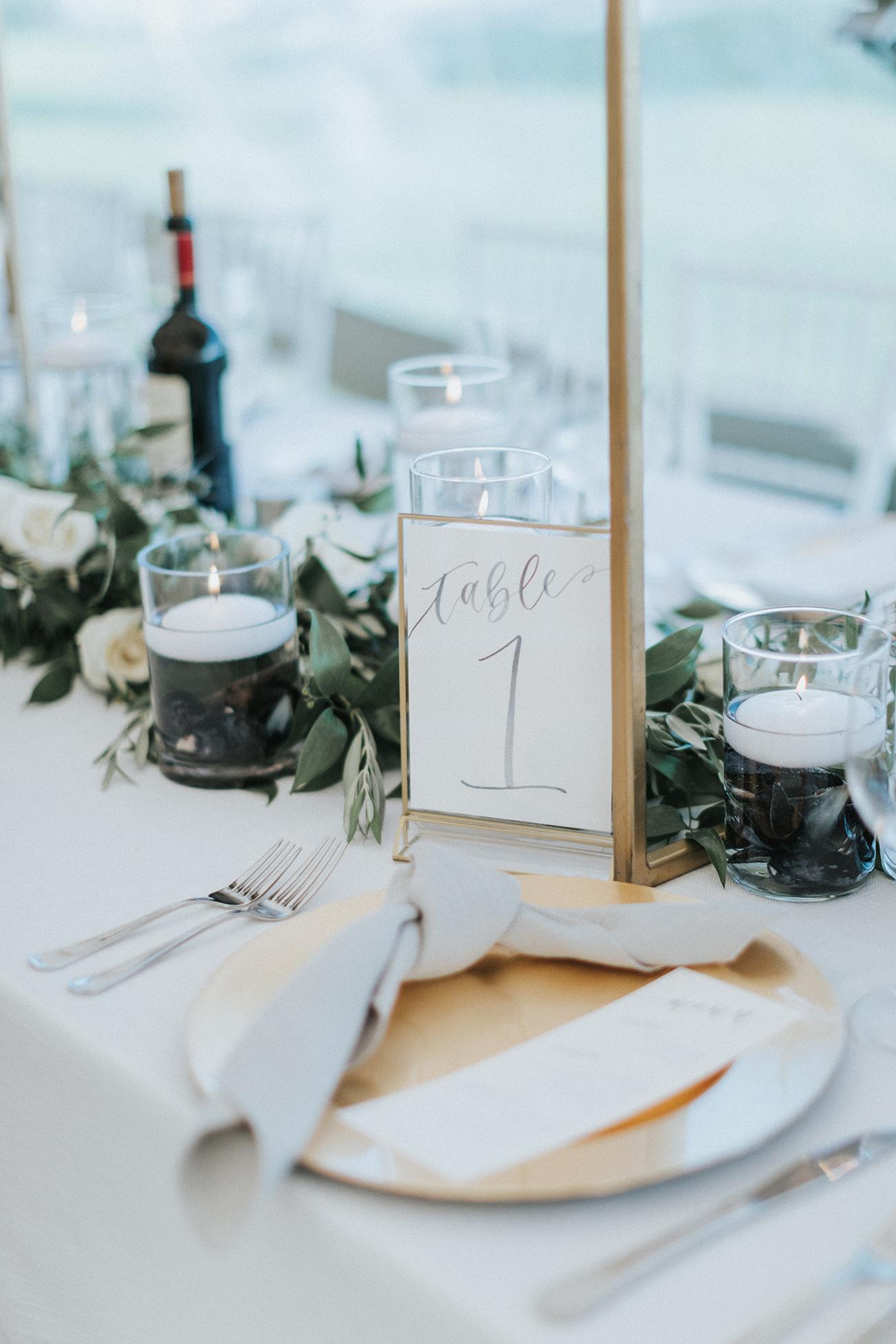 Sam Allen Creates – Watercolor Wedding Reception Menu and Table Numbers