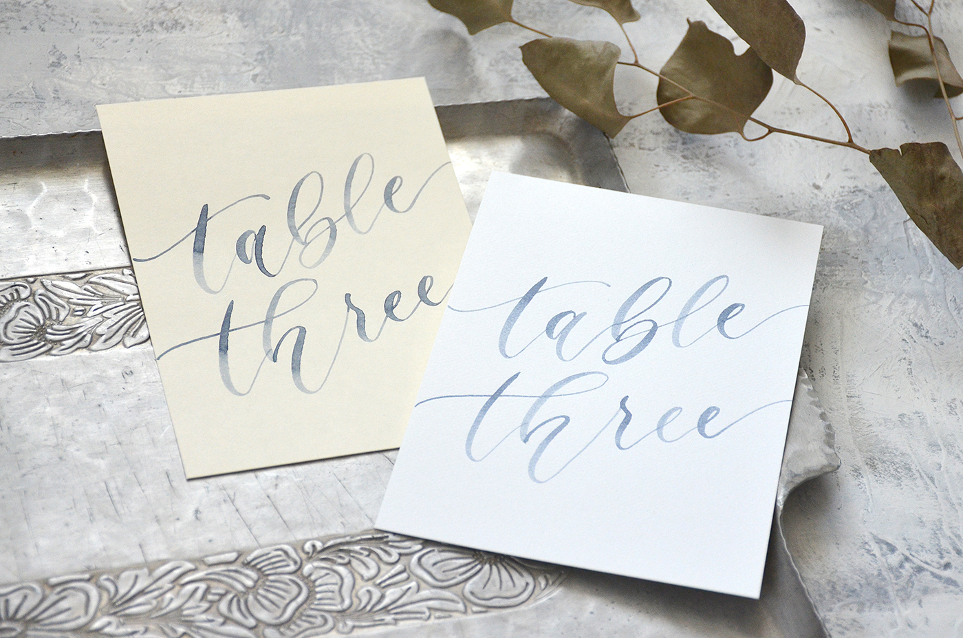 Sam Allen Creates – Navy Blue Watercolor Table Numbers for Weddings and Events