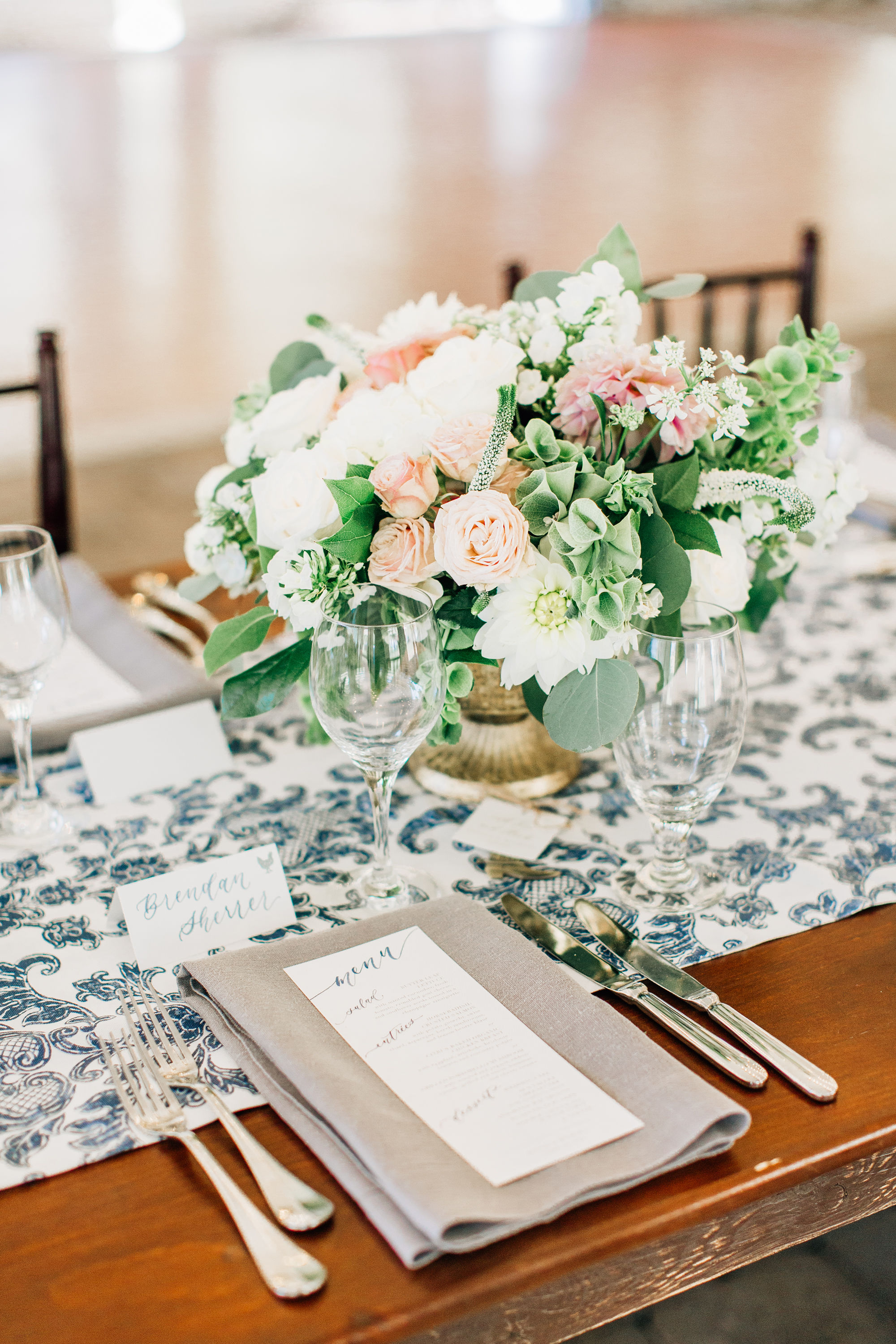 Sam Allen Creates Watercolor Wedding Reception menu and Calligraphy Tent Cards, Jenna Bechtholt Photography