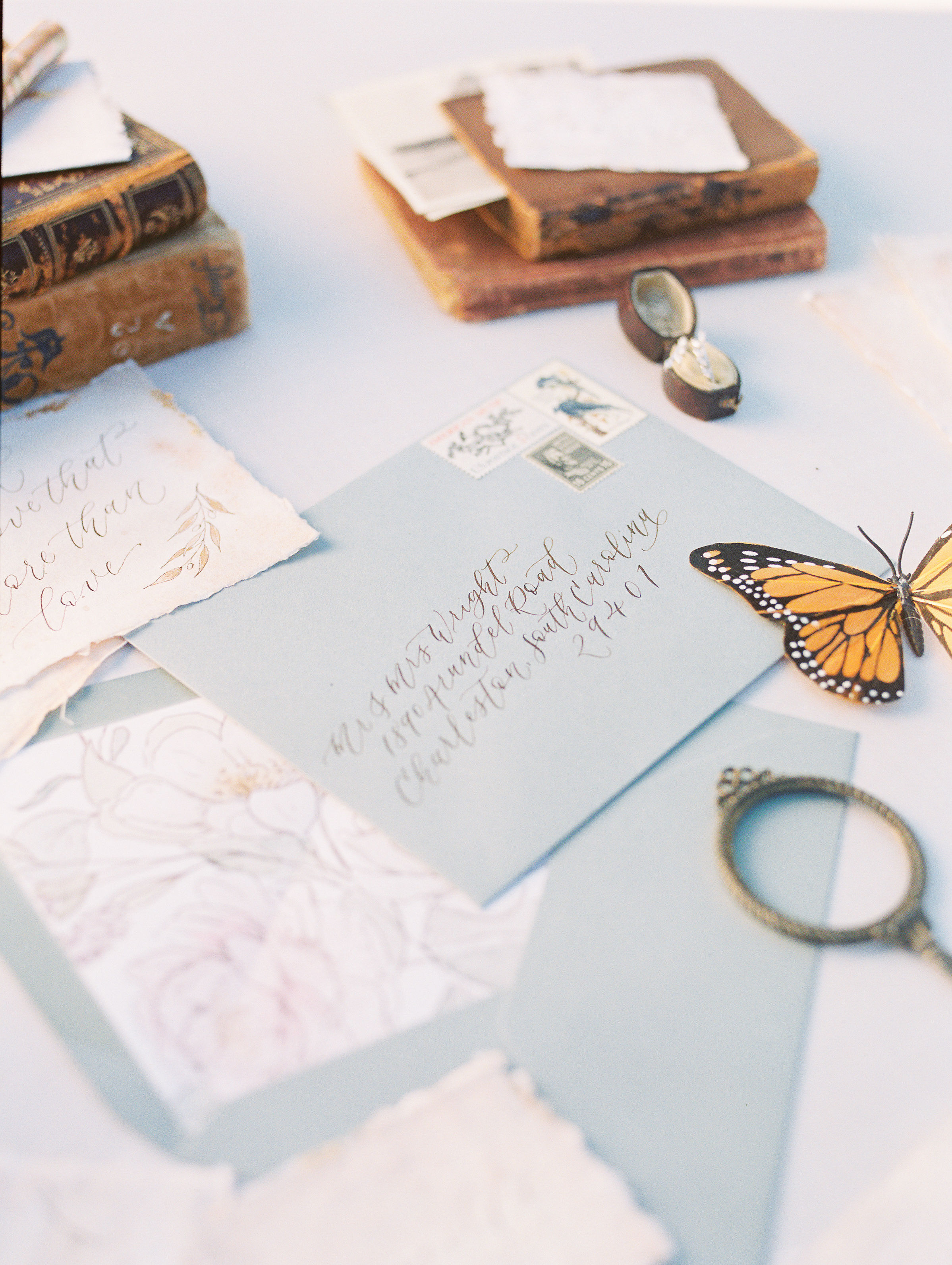 StephanieWeberPhotography – Vintage Love Letter Shoot with Envelope Calligraphy by Sam Allen Creates