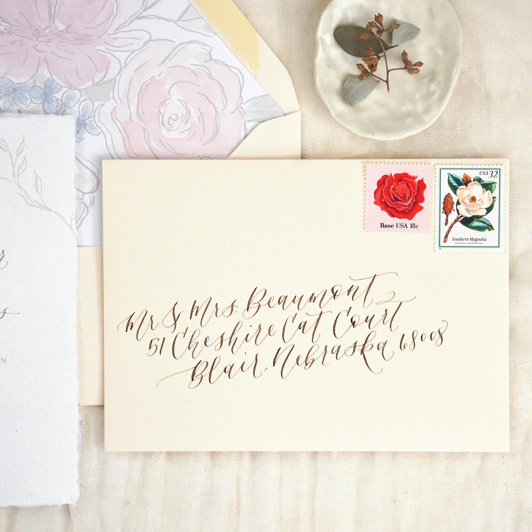 Blush Wedding Invitation Envelope with Pointed Pen Calligraphy Addressing by YourNewFriendSam, Etsy
