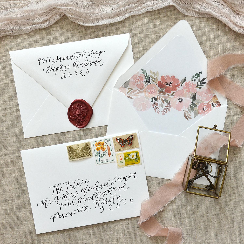 Sam Allen Creates – Wedding Envelope Calligraphy Elegant Outer and Inner Floral Envelope Liner