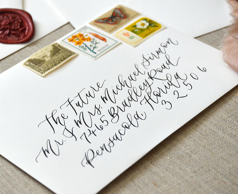 Sam Allen Creates – Wedding Envelope Calligraphy Elegant White with Black Ink