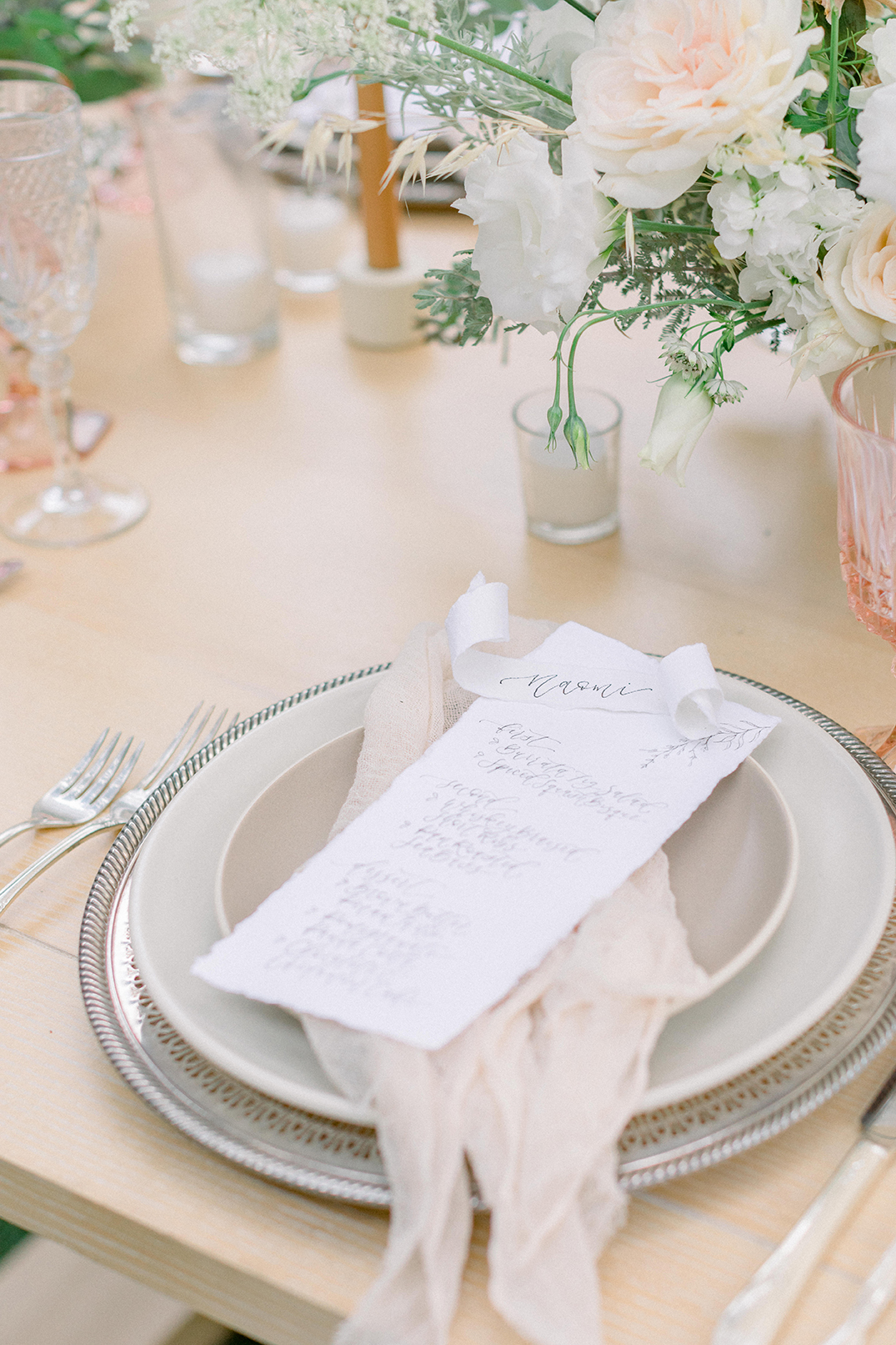 Ballerina Themed Styled Wedding Shoot with Stephanie Weber Photography – Handmade Paper Reception Dinner Menu by Sam Allen Creates with Calligraphy Scroll Placecards 2